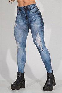 Calça Legging Jeans Back to Back Blue - Labellamafia