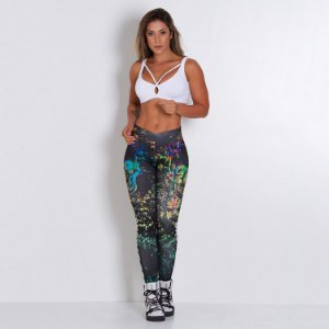 Legging Fitness Colorful Skull Tam M - cod01946