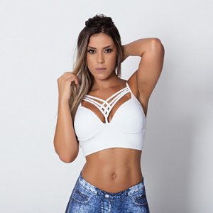 Top Fitness de Tiras Strappy Branco Tam M - cod01915