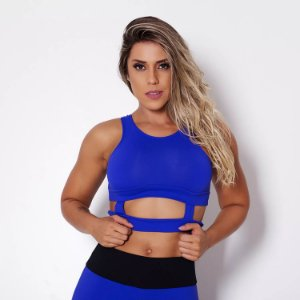 Top Cropped Fitness Holes Azul Tam P - cod01997