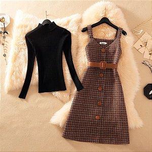 Vestido Xadrez Vintage + Cinto + Blusinha