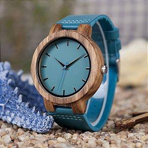 Relógio Feminino de Bambu Turquesa