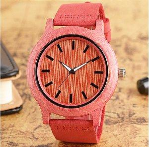 Relógio Feminino de Bambu Pink