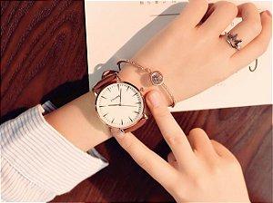 Relógio Feminino Ulzzang Couro