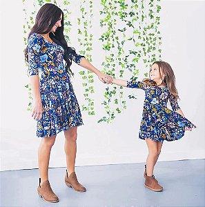 Vestido Tal Mãe Tal Filha Azul Floral