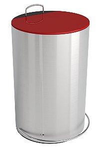 Lixeira GhelPus Redonda Inox escovado com Pedal e Balde 12L - Tampa Vermelha