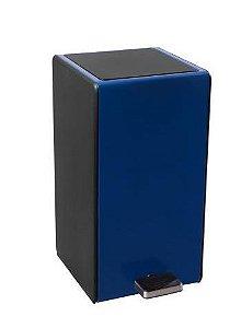 Lixeira GhelPus Retangular Soft Com Pedal e Balde Plástico 7L - Azul e Preto