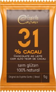 Mini Tablete de Chocolate 31% Cacau (5g)