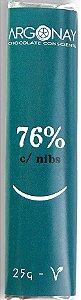 Tablete Chocolate 76% com Nibs | Vegano e Sem leite (25g)