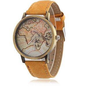 Relógio mapa mundi - amarelo