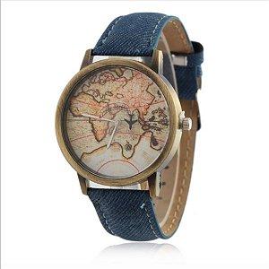 Relógio mapa mundi - azul