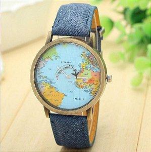 Relógio mapa mundi fundo azul - azul