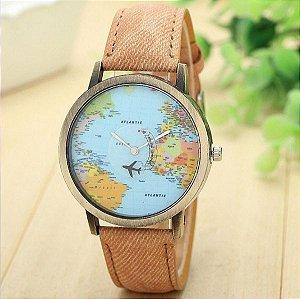 Relógio mapa mundi fundo azul - marrom