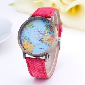 Relógio mapa mundi fundo azul - vermelho