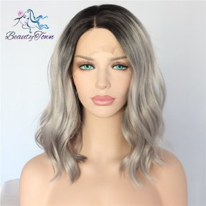 Peruca Front Lace - Ombre Hair Cinza