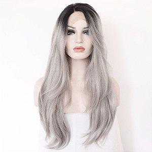 Peruca Front Lace - Ombre Hair Cinza Longo