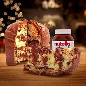 Chocotone com recheio de Brigadeiro Cremoso de Nutella coberto com Chocolate