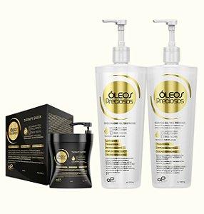 Kit Profissional Reconstrução Óleos Preciosos (Shampoo + Condicionador de 1 litro + Therapy Shock )