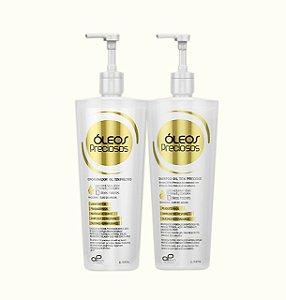 SHAMPOO e CONDICIONADOR DE HIDRATAÇÃO ÓLEOS PRECIOSOS (01 shampoo e 01 condicionador 1litro)