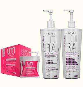 KIT PROFISSIONAL DE MANUTENÇÃO PARA CABELOS LOIROS (01 shampoo+condicionador 1litro+01 UTI 450ml)