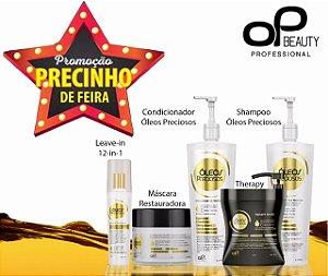 SUPER KIT PROFISSIONAL RECONSTRUTOR ÓLEOS PRECIOSOS com 5 produtos (01 leave-in, 01 mascara treats, 01 Therapy, 01 shampoo e condicionador de 1litro)
