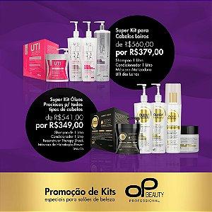 KIT ÓLEOS PRECIOSOS com 05 produtos (shampoo+condicionador 1litro, 01leave-in, 01 máscara de hidratação, 01 Reconstrutor THERAPY SHOCK)