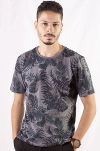 CAMISETA MASCULINA FLORAL BLUE JUNGLE