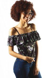 BLUSA CIGANINHA FLORAL PURPLE FLOWER