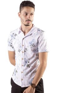 CAMISA MASCULINA FLORAL PURPLE FLOWER