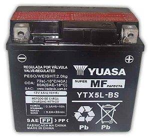 Bateria Yuasa YTX5L-BS |12V - 4Ah| CG150 Titan ES/ESD, NX150 Bros ES/ESD, CG125 ES/ESD, Biz125 ES, FAN 125, POP 100, XRE 300