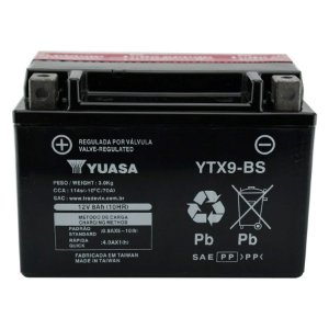 Bateria Yuasa YTX9-BS, 12V, 8Ah, CB 500, VT 600 Shadow, CB 600, CBR 900RR, XJ / XT 600, XTZ 660