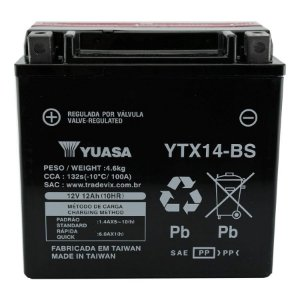 Bateria Yuasa YTX14-BS, 12V, 12Ah, VT750, ST1100, Tiger, Speed Triple, ZX-11 Ninja, FourTrax