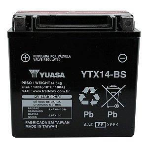 Bateria Yuasa YTX14-BS |12V - 12Ah| VT750 ST1100A GL1500 Valkyrie Quadriciclo TRX300/350/400 DR800S FZR1000 FJ1200A, AD, ADC