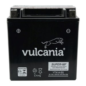 Bateria Vulcania YTX14-BS, 12V, 12Ah, VT750, ST1100, Tiger, Speed Triple, ZX-11 Ninja, FourTrax