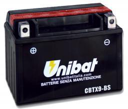 Bateria Unibat CBTX9-BS |12V - 8Ah| CB500| VT600C Shadow| CB600| CBR900RR| XJ/XT 600| XTZ660 | VZ400 Burgman| GSX-R750| FR900| ZX750K| KTM 400/620/640| DAFRA Smart, Laser, Kansas 150