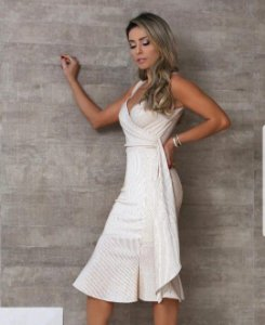 5995a0203 Vestido Helena Midi em Lurex