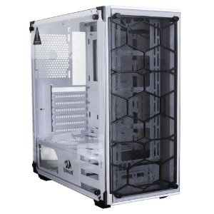 Gabinete Gamer Redragon Wheel Jack White, Mid Tower, RGB, Lateral e Frontal em Vidro, Branco - GC-606WH
