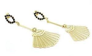 Brincos Folheados a Ouro com Detalhes em Pedras Pequenas