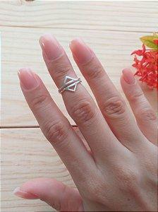Anel de Prata Falange Triângulos Duplo
