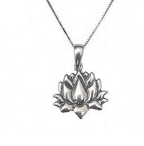 Colar de Prata Feminino Flor de Lótus Boho