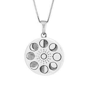 Pingente de Prata Medalhão Fases da Lua