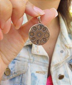 Colar de Prata Feminino Medalhão Fases da Lua