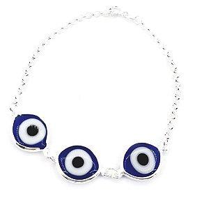 Pulseira de Prata Feminina Três Olhos Gregos