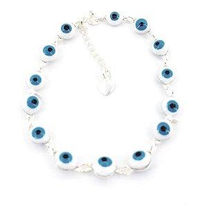 Pulseira de Prata Feminina Bolinhas Olho Grego