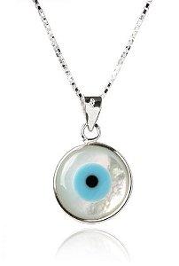 Colar de Prata Feminino Olho Grego Madrepérola
