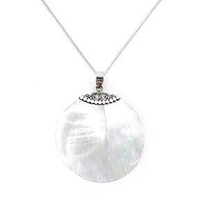 Colar de Prata Feminino Madrepérola Mandala