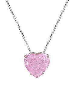 Colar de Prata Feminino Coração Rosa Craquelado