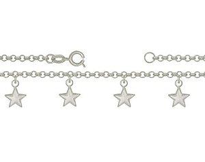 Tornozeleira de Prata Estrelas