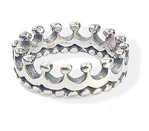Anel de Prata Feminino Coroa com Bolinhas