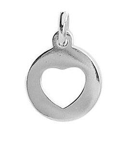 Pingente de Prata Feminino Placa Coração Vazado